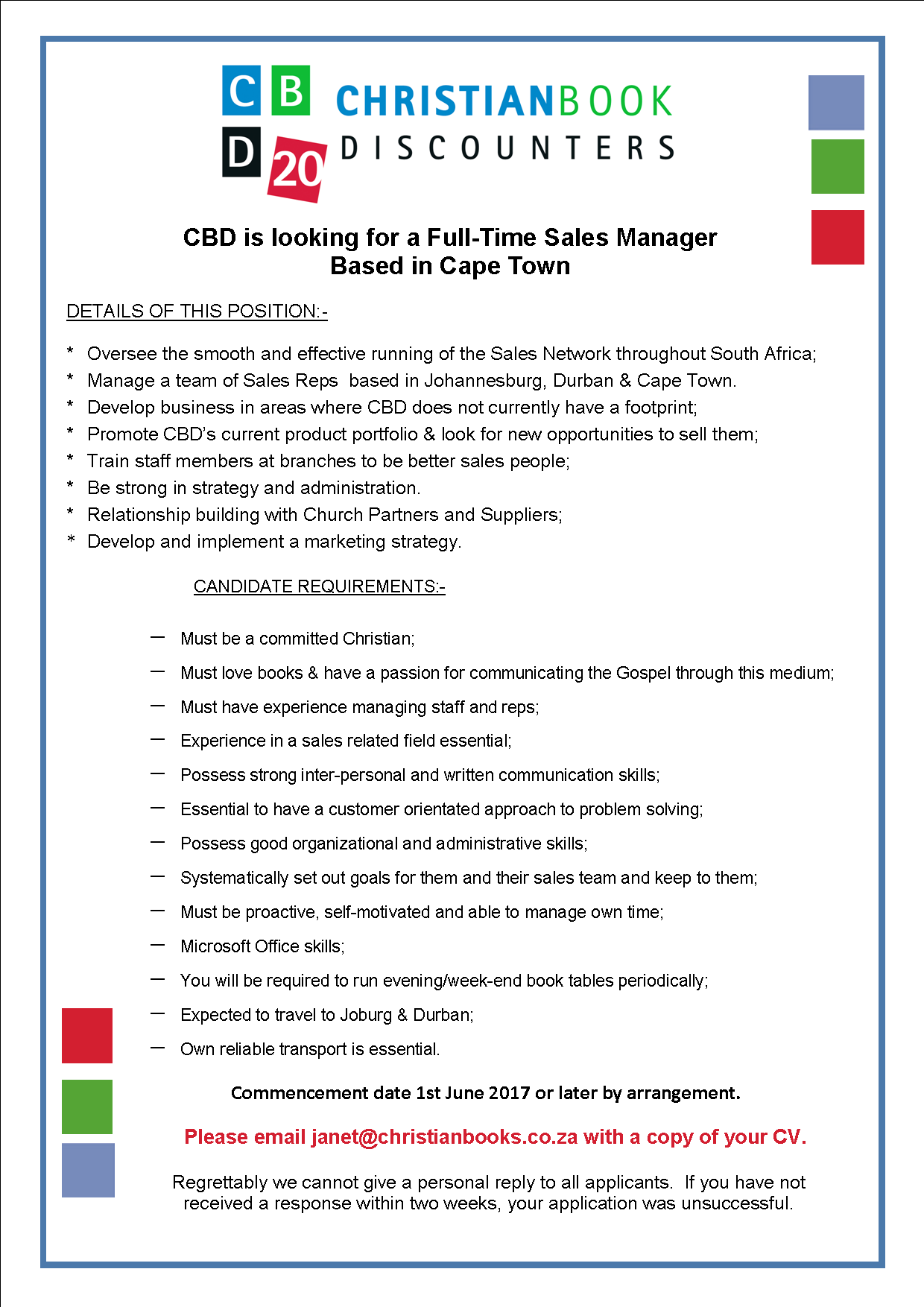 Advert for National Sales Manager 1