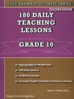 Easy Grammar Ultimate Series- 180 Daily Teaching Lessons Grade 10 Teacher Guide